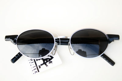 Hi Tek vintage black oval sunglasses Goth Steampunk HT-RET-9105