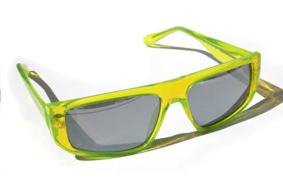HI TEK square neon green sunglasses