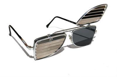 oblong flip up sunglasses steampunk style blinders louver Hi Tek