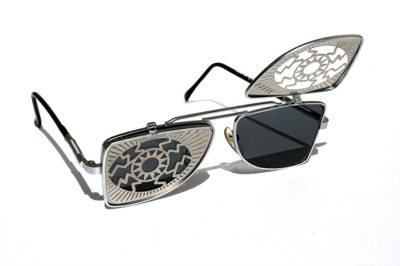 vintage metal flip up sunglasses steampunk Hi Tek HT-OBFL-EYE