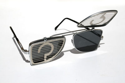Hi Tek oblong metal lens flip up sunglasses steampunk HT-OBFL-QUESTION