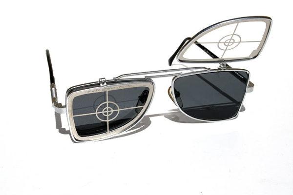 10fc51633e Hi Tek oblong metal flip up sunglasses HT-OBFL-TARGET unusual unqiue ...