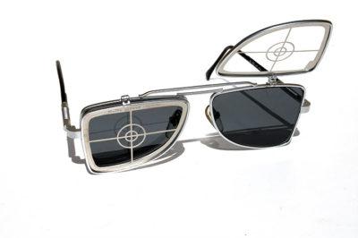 Hi Tek oblong metal flip up sunglasses HT-OBFL-TARGET unusual unqiue
