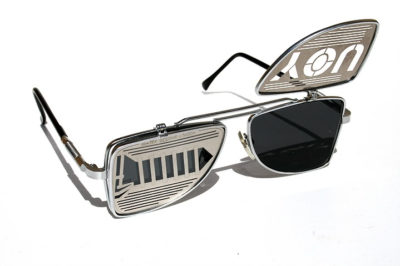 Hi Tek oblong metal lens flip up sunglasses steampunk HT-OBFL-SCREWYOU