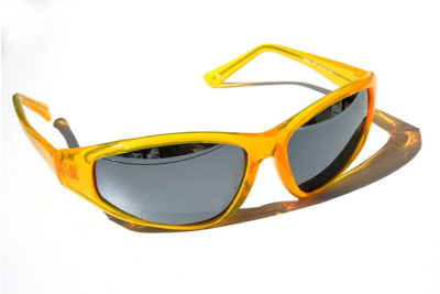 plastic frame sunglasses goggles in neon yellow color and mirror lenses HI TEK