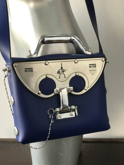 blue leather handbag