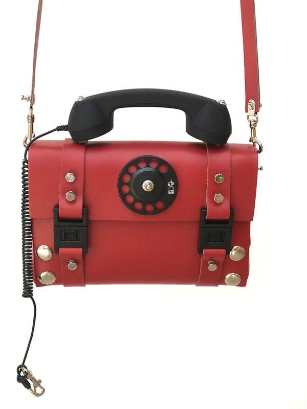 red leather shoulder bag handbag with telephone handle unusual unique