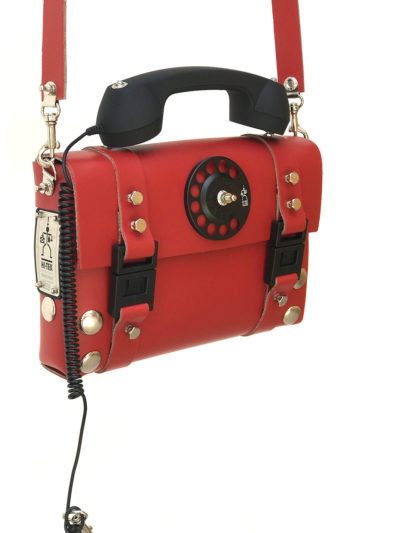 red leather shoulder bag with telephone receiver handle Steampunk