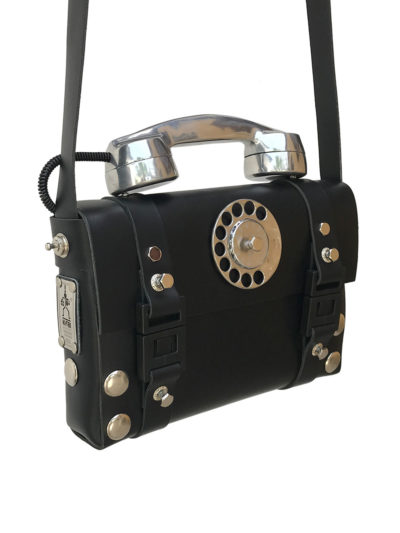 black leather shoulder bag aluminium retro telephone handle limited edition