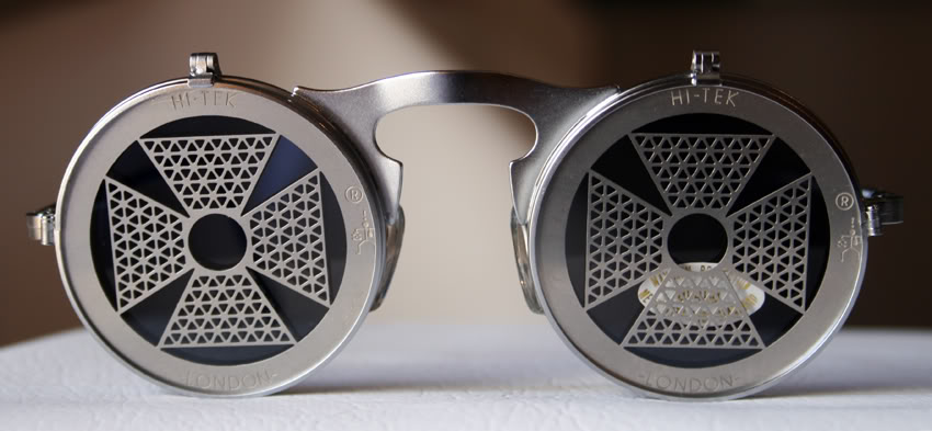 Hi Tek unisex round metal flip up sunglasses model HT-006-CROSS