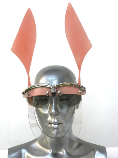 pink mask with ears futuristic modern steampunk unusual eye wear  Hi Tek