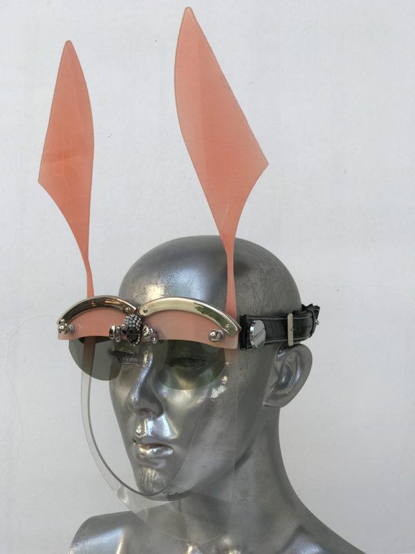 pink mask with ears futuristic modern steampunk unusual eye wear  Hi Tek
