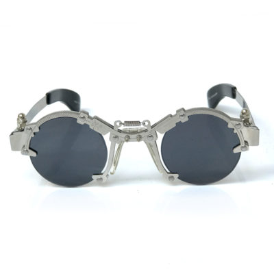 Hi Tek round silver metal sunglasses HT-cult-8b unusual industrial steampunk