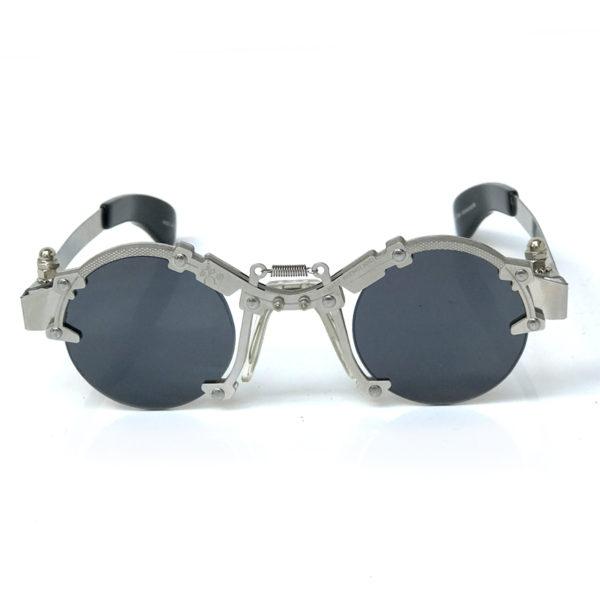 Hi Tek round silver metal sunglasses HT-cult-8b unusual industrial steampunk