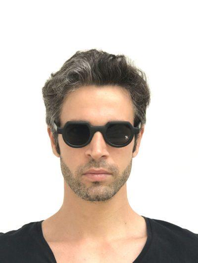 round flat top sunglasses black frame Hi Tek alexander
