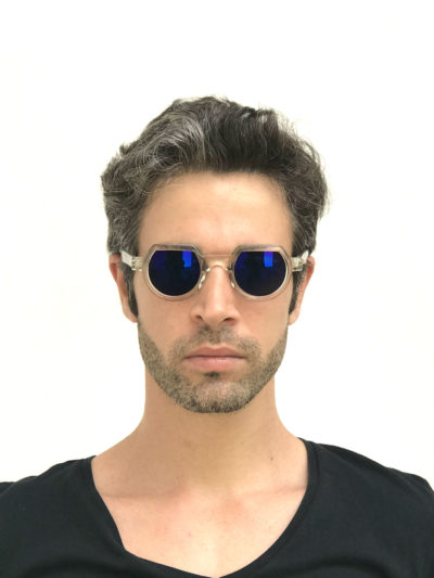 round flat top sunglasses clear sunglasses with blue mirror lenses HT-010