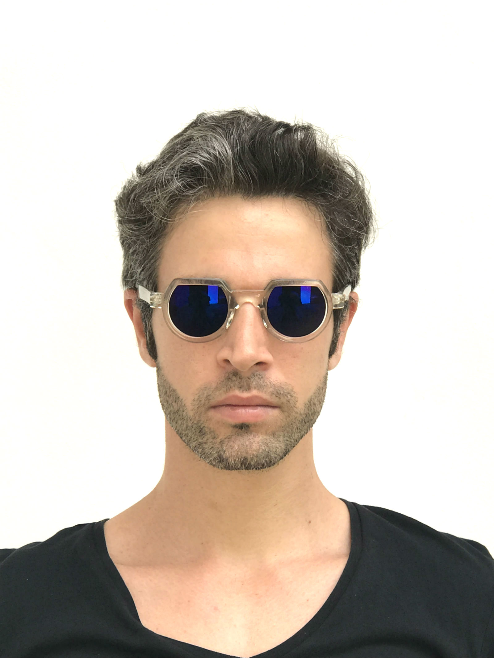 vintage round sunglasses clear with blue mirror lens HT-010