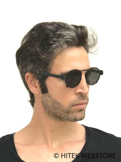 round sunglasses black metal frame spring on temples HT-165
