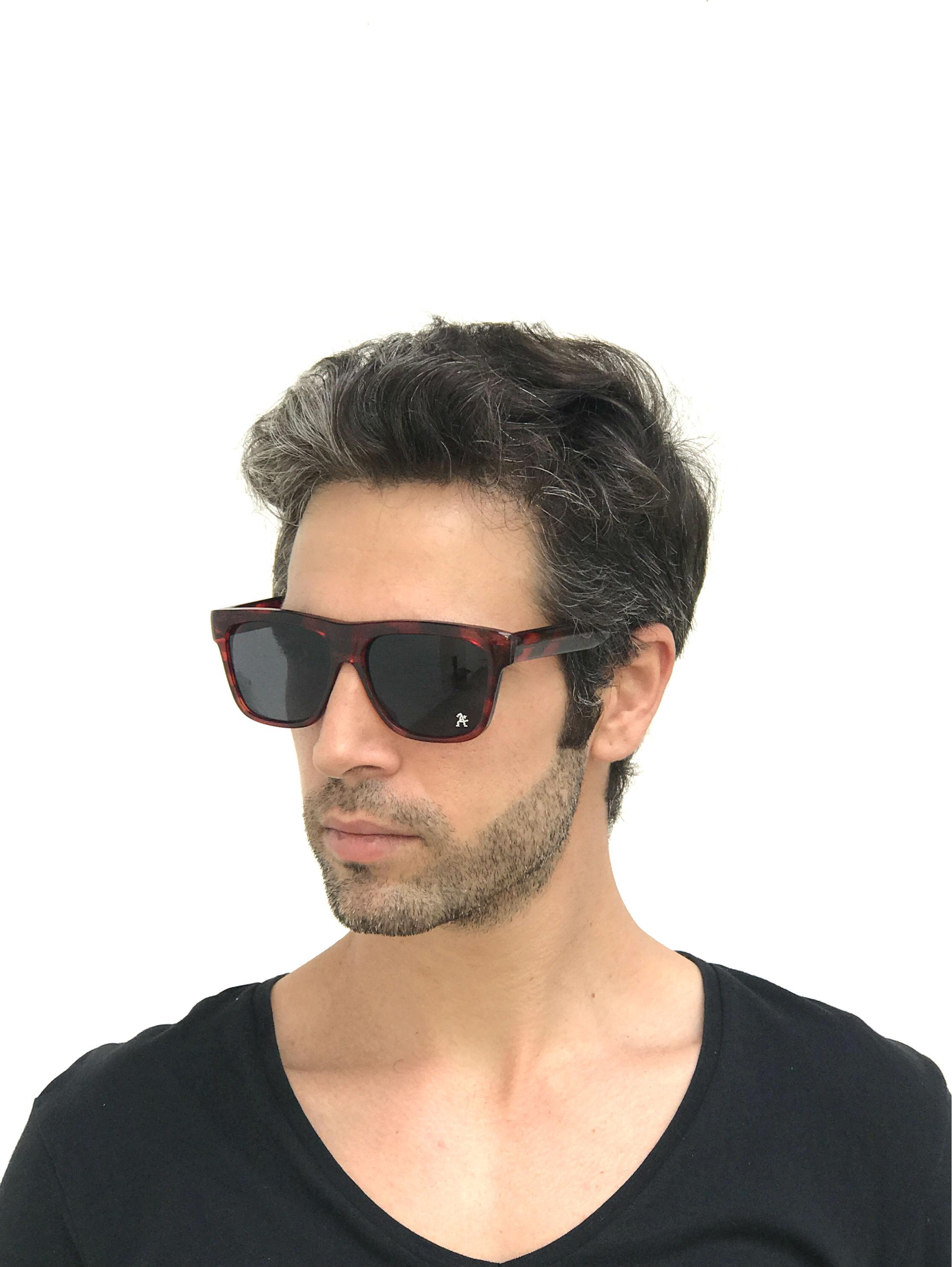rectangle tortoise retro sunglasses flat top Hi Tek HT-92111