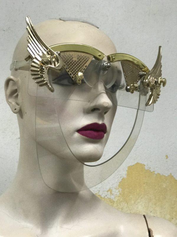 eyewear mask with wings, gold angel wings Hi Tek