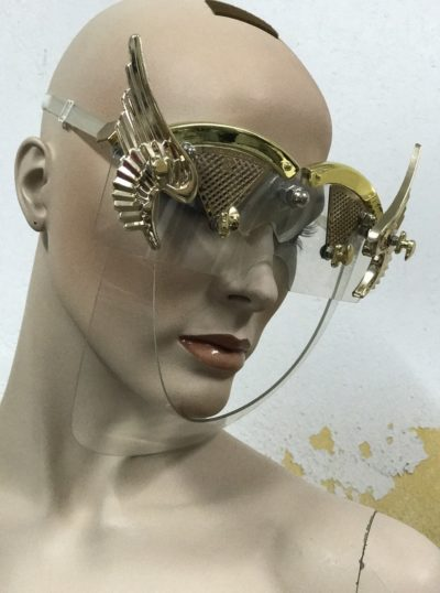 eyewear mask with wings, gold angel wings Hi Tek