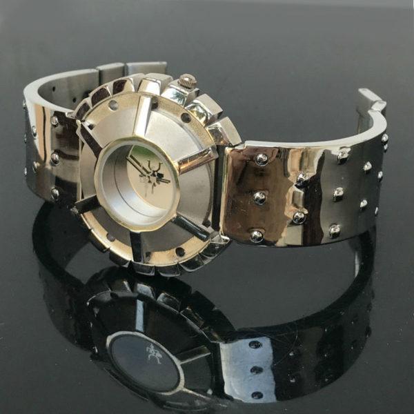 Unisex wrist watch Cyber Goth Cyber Punk Steampunk Hi Tek Alexander State Spokes metal strap