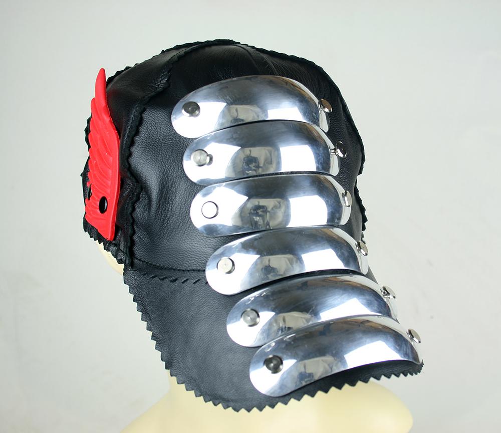black leather baseball cap HI TEK unusual unique