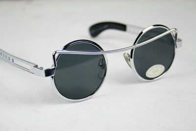 round metal Steampunk sunglasses vintage 1980s HT-4010 silver, gold