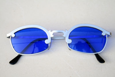 square silver metal sunglasses blue lens Hi Tek  HT-6324