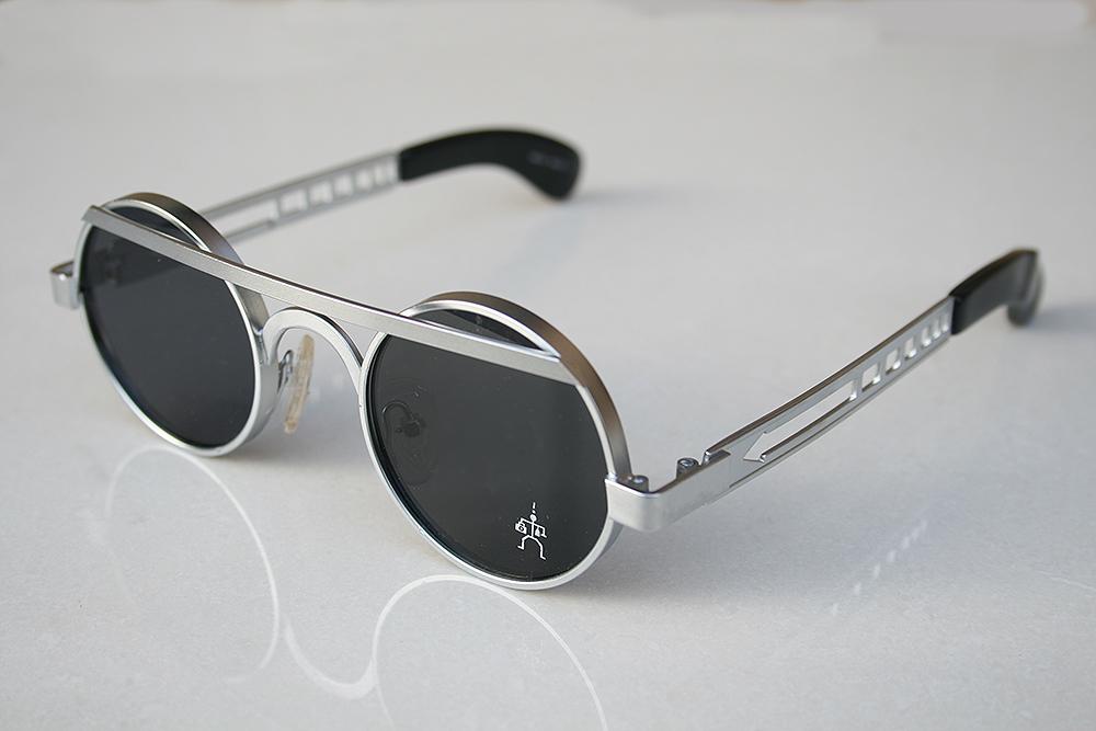 Hi Tek round silver metal sunglasses HT-4011