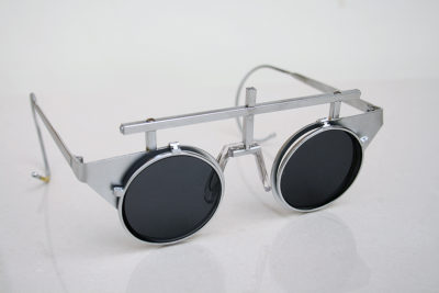unisex flip up silver metal sunglasses goggles Steampunk wearable art performing artist styling video shoot unusal eyewear