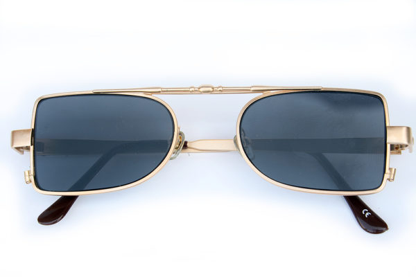 oblong gold metal frame sunglasses retro 1940s style Steampunk Hi Tek