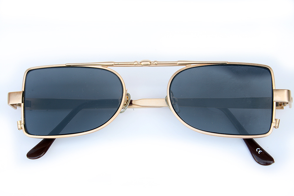 oblong gold metal frame sunglasses retro 1940s style Steampunk Hi ...