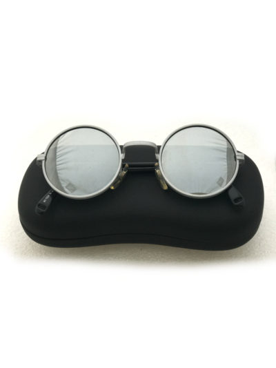 round sunglasses with mirror lenses, metal frame mirror coated polarised lenses