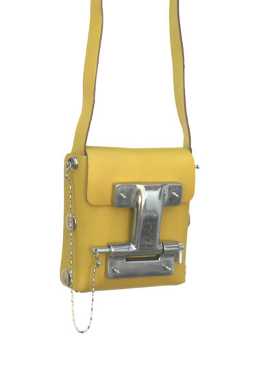 yellow leather cross body bag small unisex unusual unique