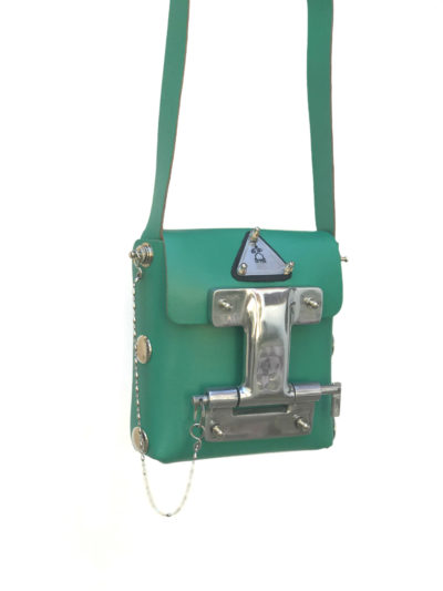Hi Tek green leather crossbody bag small unisex unusual unique