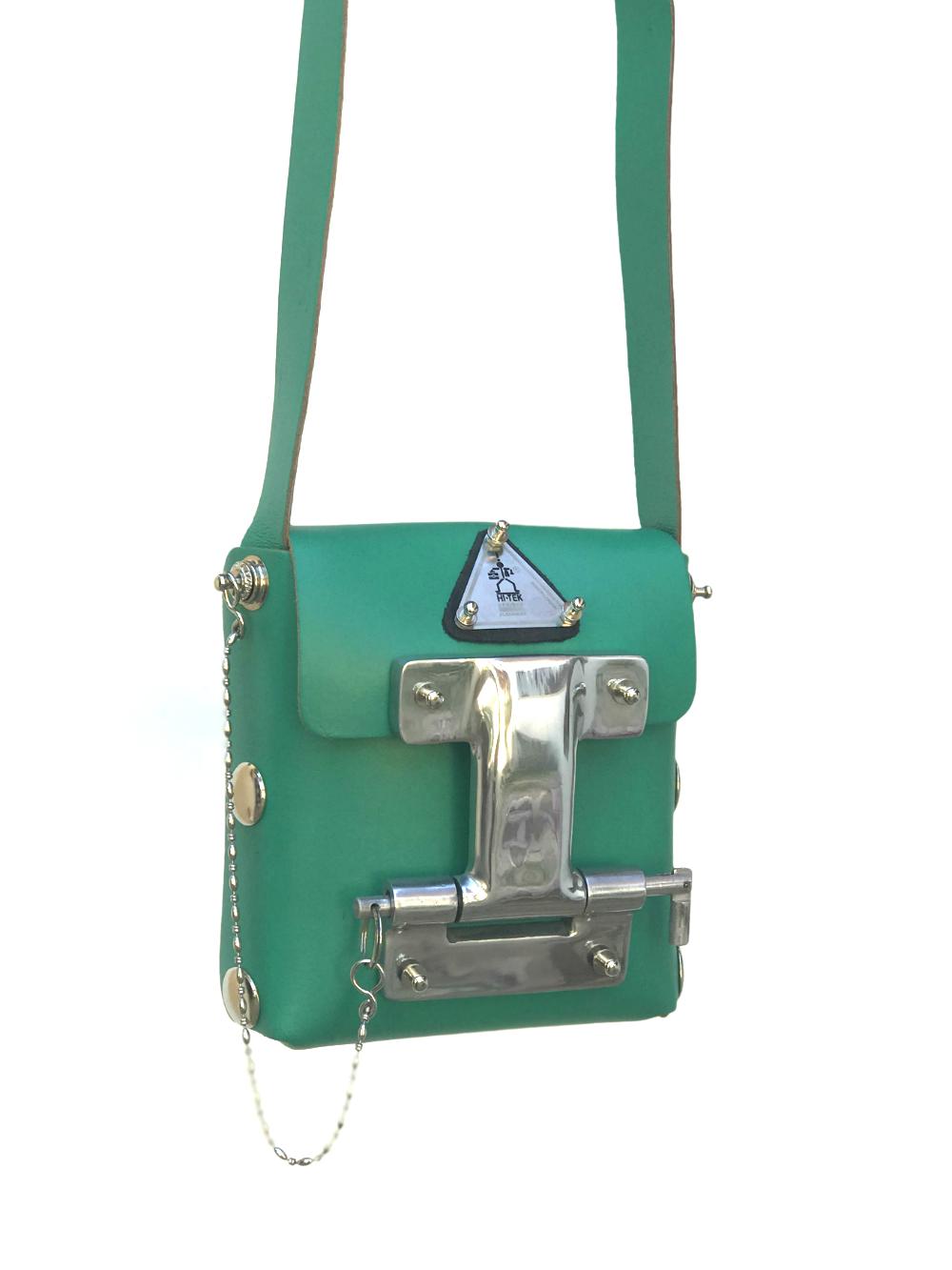 ac40a6bd0 Hi Tek green leather crossbody bag small unisex unusual unique | Hi ...