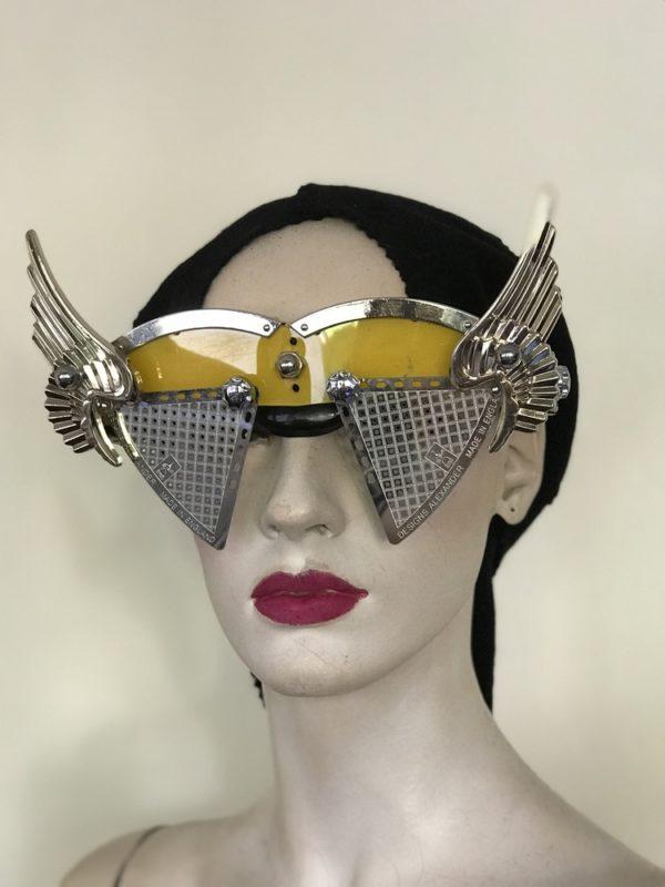 artistic modern steampunk eye wear mask metal wings perforated metal ocular lens Hi Tek yellow face