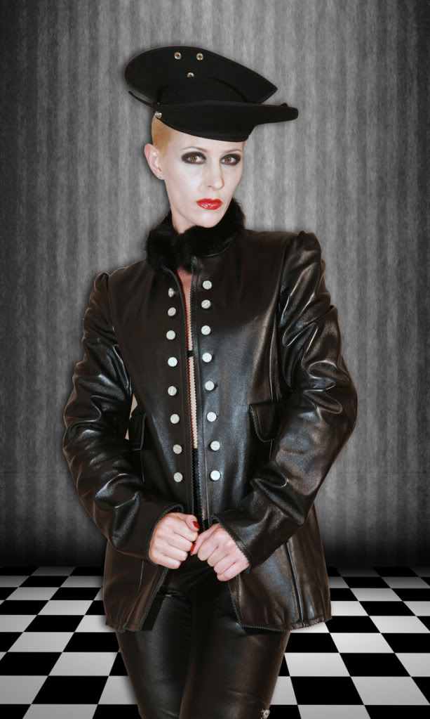 women's black leather medium length jacket  Hi Tek