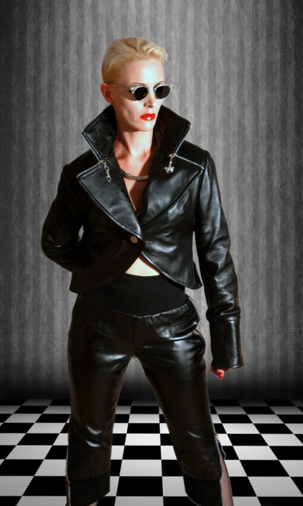 womens black leather jacket Hi Tek