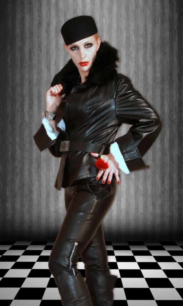 womens medium length waisted black leather jacket HI TEK