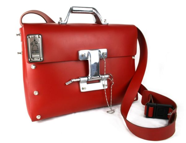 Hi Tek  leather messenger bag briefcase for men unusual design