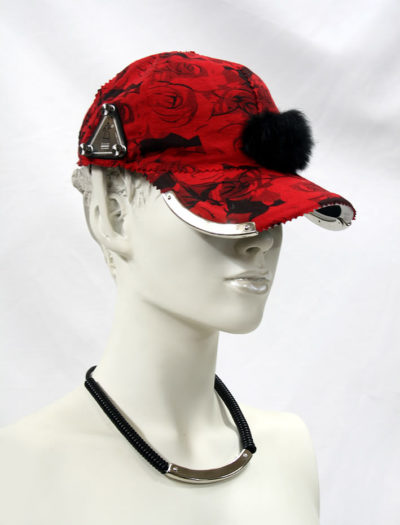 red floral baseball cap HI TEK unusual unique