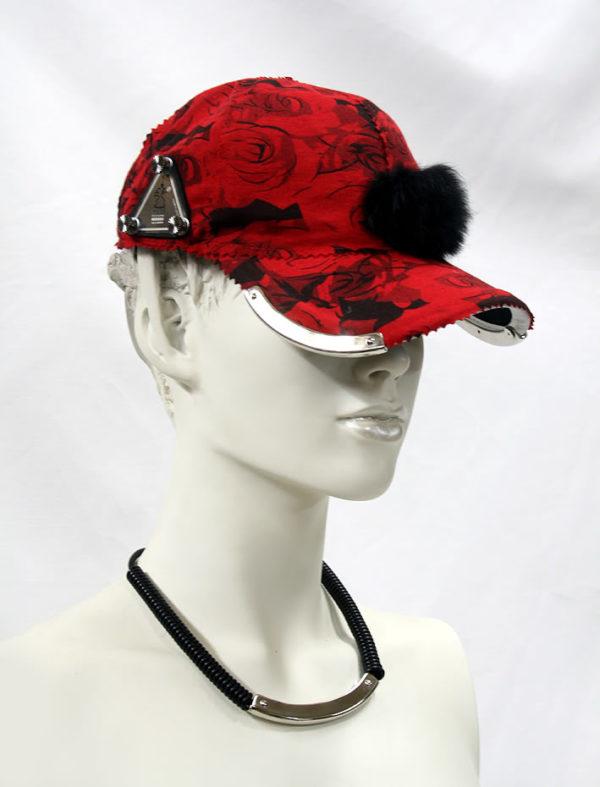 red floral baseball cap HI TEK unusual unique
