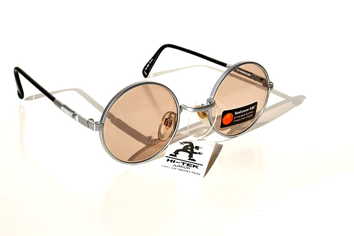 round silver metal sunglasses with sunsensor XDF lenses Hi Tek