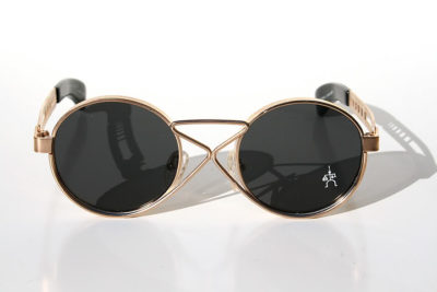 Hi Tek vintage round gold metal sunglasses HT-4008 unusual