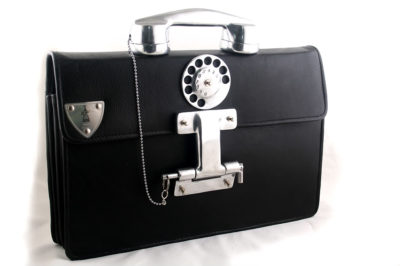 mens large black leather briefcase with aluminium telephone handle Hi Tek Alexander