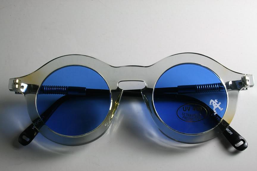 Hi Tek vintage round sunglasses clear frame blue lens HT-008