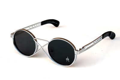 round sunglasses silver metal flat lens unusual bridge vintage Steampunk