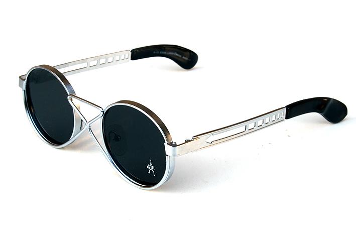 round sunglasses silver metal flat lens unusual bridge vintage Steampunk